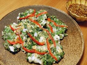 長芋とモロヘイヤのチヂミ[人気の韓国料理レシピ]