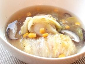 お餅と白菜の生姜入り中華スープ