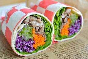 野菜と牛肉のトルティーヤ