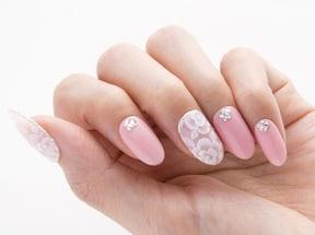 透け感ピンク×ホワイトフラワー