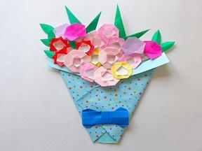 折り紙で作った花束