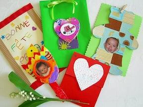 子供の写真や絵を使った手作りカード