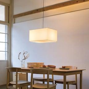 ワイヤーとコードがアクセントの四角型ペンダント照明