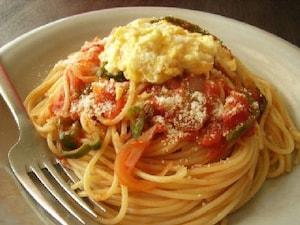 卵と野菜のトマトスパゲティ