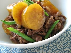 牛肉とさつま芋の甘辛煮