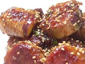 韓国風さつま芋の肉巻き