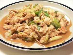鶏ささみとネギの炒めもの