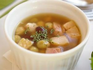 ミックスビーンズとベーコンのスープ