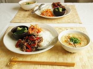 牛肉のバジル炒め丼定食
