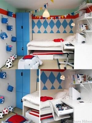 トリコロール使いが爽やかに。遊び心のある男の子の部屋。