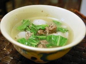 里芋と青菜のスープ
