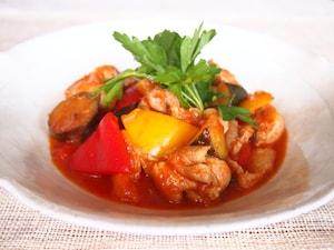 夏野菜と鶏の甘酢煮