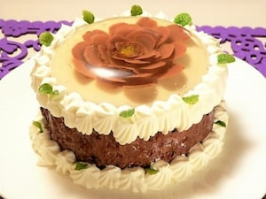 フラワーゼリーのチョコケーキ