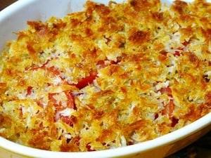 トマトとしらすのパン粉焼き