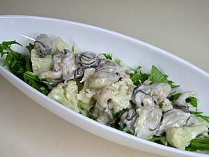 カリフラワーと牡蠣の温野菜
