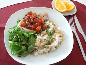 シーチキンピラフ&トマトと豚肉のソテー