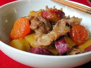 豚肉とさつまいもと杏