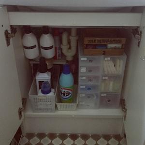 洗面台下は小物収納ボックスで整理整頓!