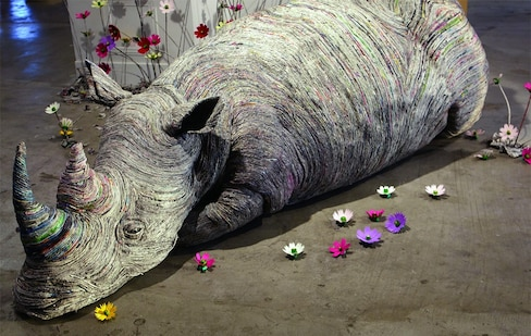 Incredible Rolled Newspaper Animal Sculptures