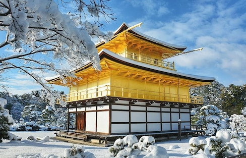 Kyoto's Gold Pavillion Glitters in the Snow