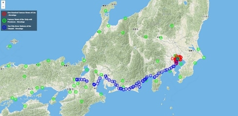 Interactive Map of Real Life Ukiyo-e Locations