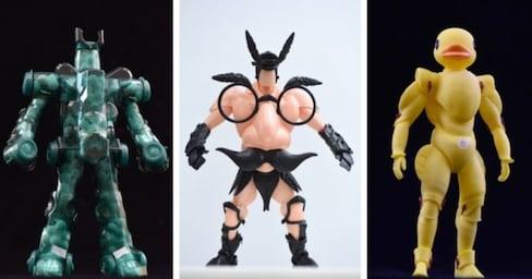 Sculptor Creates Heroes Using 100-Yen Toys