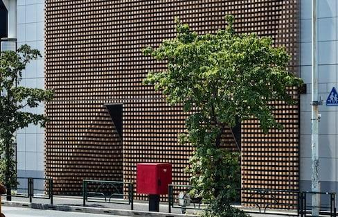 Tokyo Building Shaded by Hinoki Wood Curtain