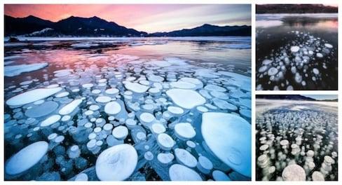 Ice Bubble Phenomenon Photographed in Hokkaido