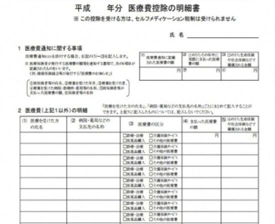 平成30年3月期申告からの医療費控除の明細書(出典:国税庁資料より)