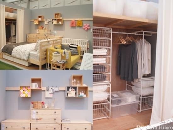 和室と相性の良い白木の家具を使用。押し入れの襖をパネルカーテンにすることで、インテリアに統一感が生まれる