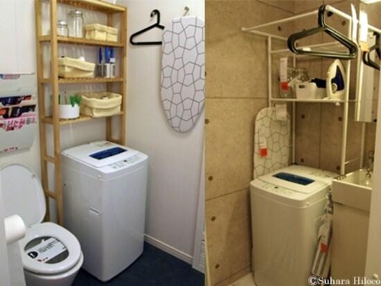 左:トイレの便器の上にも設置できる。トイレットペーパーやタオル収納に。右:一番上のパイプにはハンガー掛けができる。(IKEA立川店)