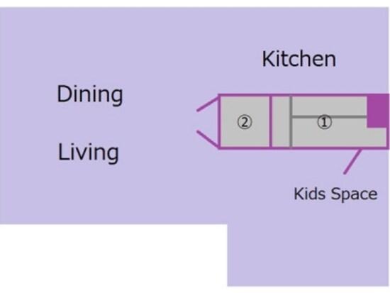 2つの収納は隣り合わせの関係で、1つはダイニング側、もう1つはキッズスペース側