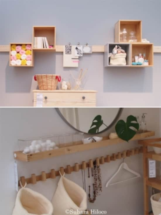 和室の長押にミニボックスを取り付けるアイデア(上)。フックとミニ棚で動線をふさがない収納スタイル(下)