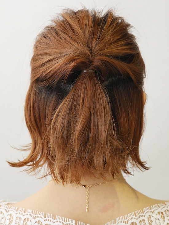 画像 5/9 :くるりんぱ×ハーフアップで簡単ショートヘアアレンジ