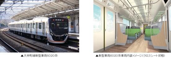 左:座席指定車を連結することになる新型車両6020系、右:6020系のクロスシートのイメージ(東急プレスリリースより)