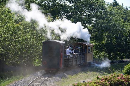 白煙をなびかせて走り去る汽車