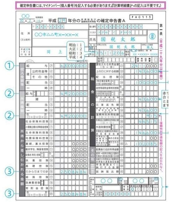 住宅ローン控除の適用がある場合の確定申告書Aの記載例(出典:国税庁)