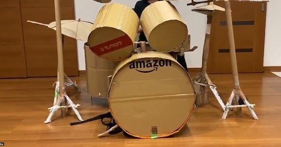全てダンボール!? 外出自粛中に作成したダンボールドラムの完成度が高いと話題に「ステキすぎる」「バンドマンの鏡」