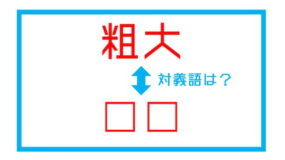 【漢字対義語クイズ】「粗大」←この言葉の対義語は?(第155問)