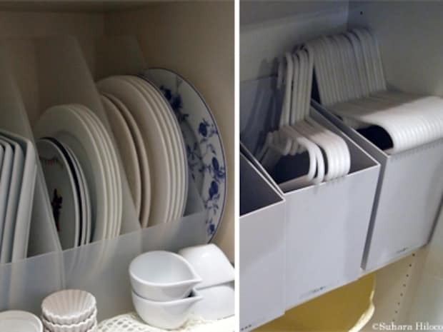 縦型のボックスには大皿、横型のボックスには洗濯ハンガーを収納