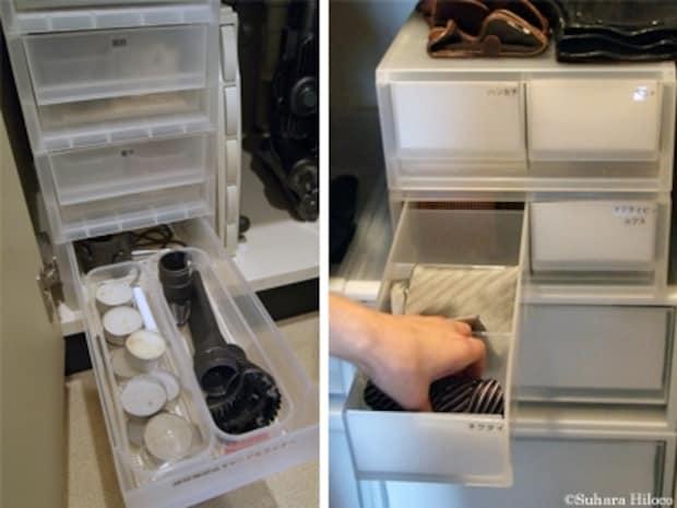 洗面所ではコンタクトレンズのケア用品やヘアアクセサリー入れに。クローゼットでは、ネクタイやベルト、ハンカチなどの小物を収納