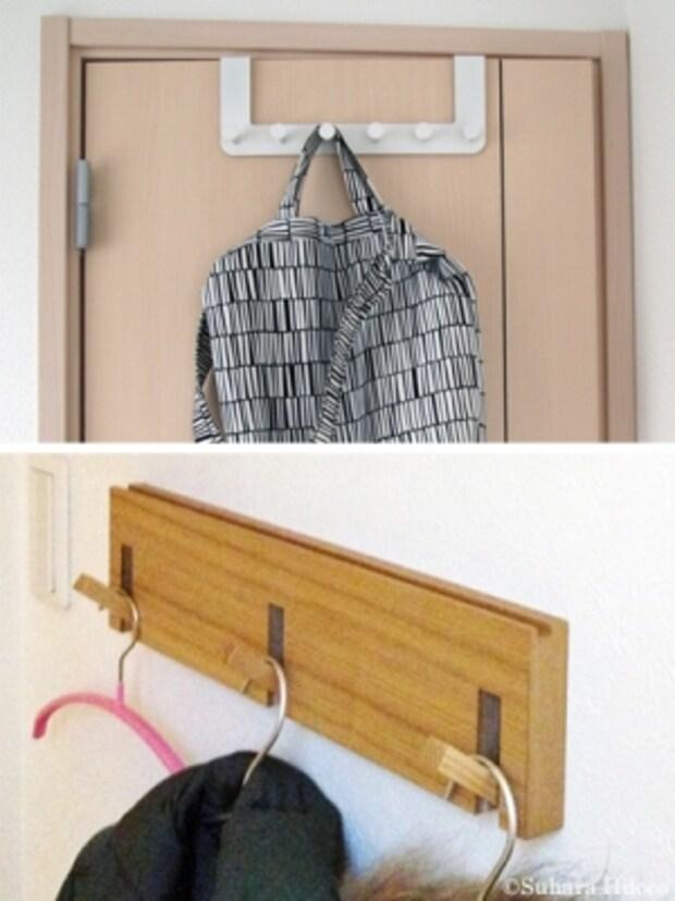 イケアのフックはホワイトと金属色のグレイがある(上)。無印良品の3連ハンガーは、使わないときにはフックを閉じることができる(下)。子どもが使う想定なら、手の届く高さ に取り付けたい