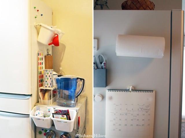 """冷蔵庫の色をメインカラーに""""統一感""""を持たせて。アクセント色を加えてヤル気を盛り上げてもいい"""