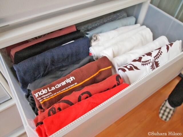 お手本:衣類の特徴が分かるような畳み方と並べ方になっている