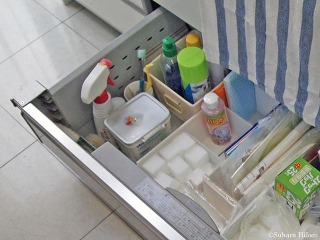 お手本:きれいに拭いて隠す。でも、頑張らなくてもできることは?スポンジと洗剤はだしておく?そんな自問から自答を導き出したい