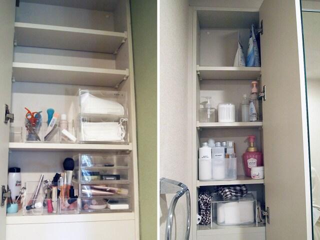 透明のプラスチックやアクリル収納を利用。棚の上段は手が届きにくいのでストック品の収納向き