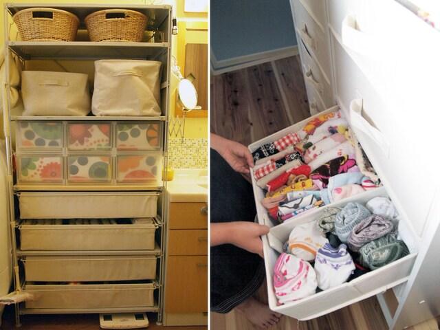 左:洗面台と洗濯機との間にラックをセットして脱衣カゴ、ランドリーバスケットまで収納 右:カラーボックスにはインナーケースを入れて子どもにも使いやすく