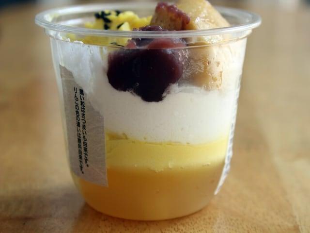 りんごゼリー、さつまいもクリーム、ホイップの3層で、さっぱりとした仕立て