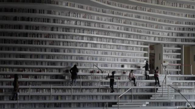 「愛書家の夢」の図書館、よく見てみると… 中国・天津