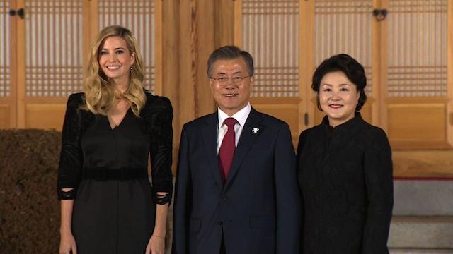 イヴァンカ氏、韓国大統領府で会食